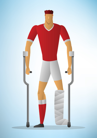 sport player trauma and injury. Healthcare vector illustration.