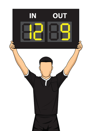 Football referee hole substitution board. The referee shows the number display. Vector illustration.