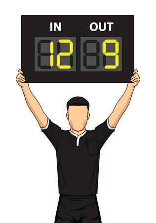 Junta de sustitución de agujeros de árbitro de fútbol. El árbitro muestra la visualización del número. Ilustración vectorial