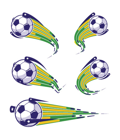 Football symbols set, fast moving soccer ball. Icons for sports design vector illustration.