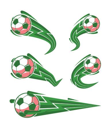 Football symbols set. fast moving soccer ball. logo for sports design. Vector illustration.