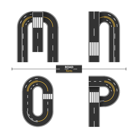 Alphabet in a set M,N,O,P. Road with white and yellow line markings on white background.