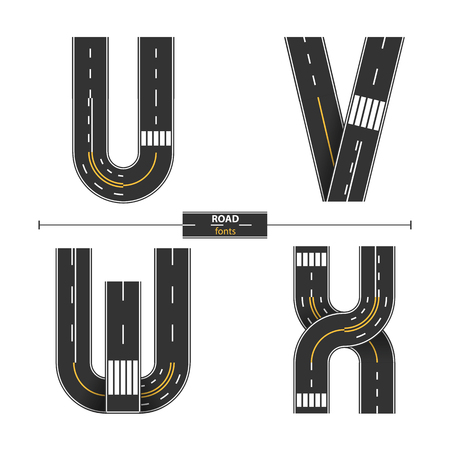 Alphabet in a set 'U,V,W,X'. Road with white and yellow line markings on white background