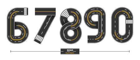 Numbers in a set '6,7,8,9,0'. Road with white and yellow line markings on white background.