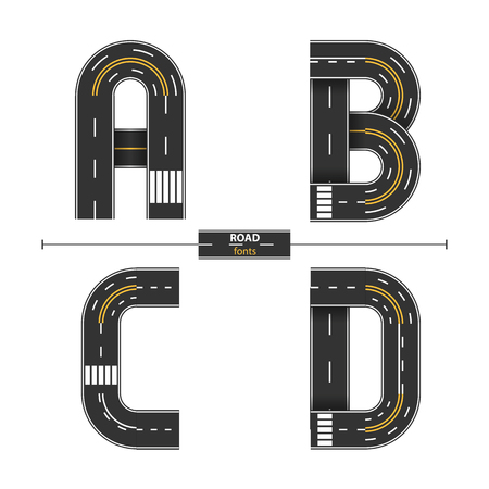 Alphabet in a set A,B.C,D. Road with white and yellow line markings on white background. Illustration
