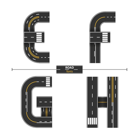 Alphabet in a set E,F,G,H. Road with white and yellow line markings on white background.