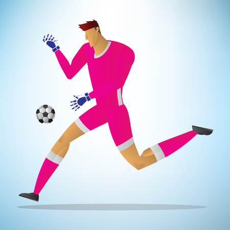 Illustration of football goalkeeper player action kick a ball.