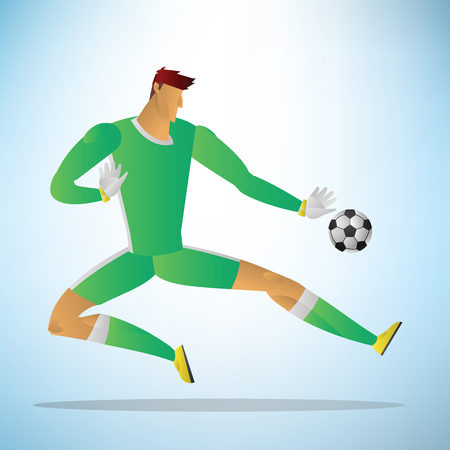 Illustration of football goalkeeper player action save a goal.