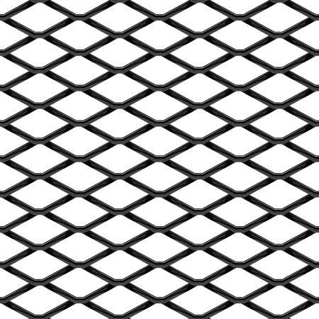 Naadloze structuur van zwart chroomstaalrooster. Chainlink op witte achtergrond wordt geïsoleerd die. Vector illustratie EPS 10.