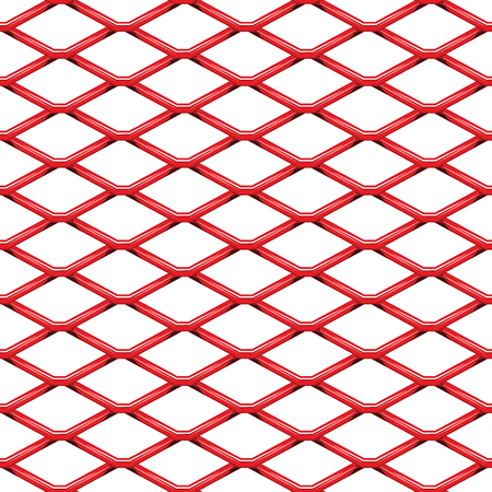 Red chrome Steel Grating seamless structure. Chainlink isolated on white background.  Vector illustration. EPS 10.