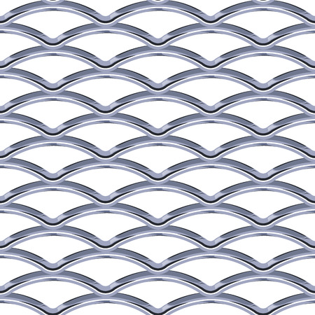 Steel Grating seamless structure. Chainlink isolated on white background.  Vector illustration. EPS 10. Archivio Fotografico - 99746262