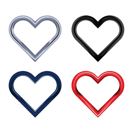 Heart chrome object set isolated on white background.  Vector illustration. EPS 10. Illustration