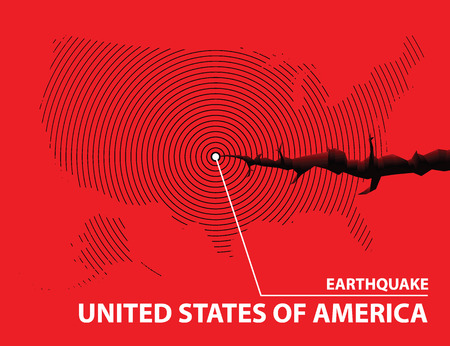 United states of america Earthquake concept on cracked map. Vector illustration.
