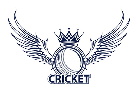 Vector illustration of cricket sport logo with typography sign, ball, wings, crown  isolated on white background.