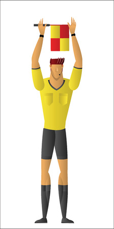 Assistant referee signaling to the referee by holding his flag overhead with both hands vector illustration Illustration