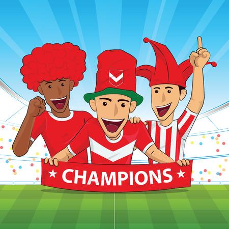 Cheer football support red shirt Vector illustration.