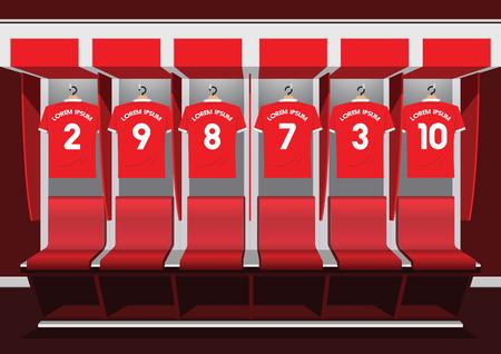 fútbol sala de artículos vestidor Ilustración de vector