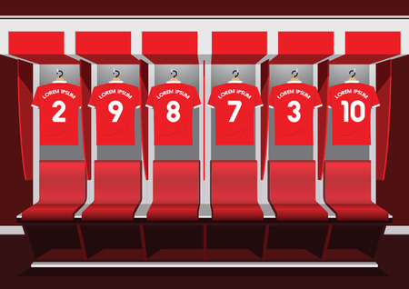 Soccer dressing rooms team.