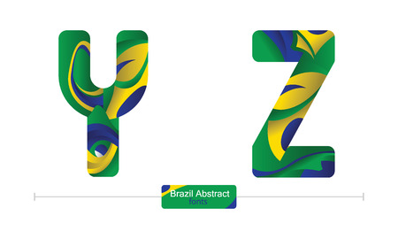 Vector graphic alphabet in a set Y,Z, with brazil abstract style