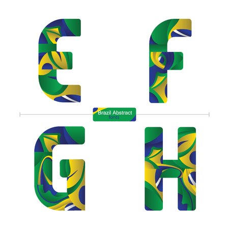 Vector graphic alphabet in a set E,F,G,H, with brazil abstract style