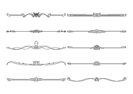 Set di elementi decorativi, cornice di regole di bordo e pagina. illustrazione vettoriale.