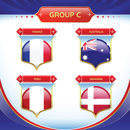 Soccer or football flag in a ball a group B. Vector illustration. Stock Illustratie
