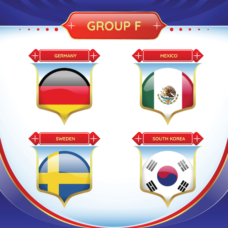 Soccer or football flag in a ball a group F. Vector for international world championship tournament. Ilustração