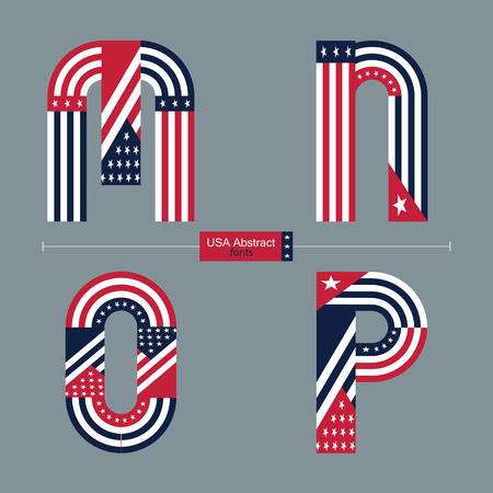 Vector graphic alphabet in a set M,N,O,P with USA flag abstract style