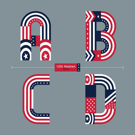 Vector graphic alphabet in a set A,B.C,D, with USA flag abstract style