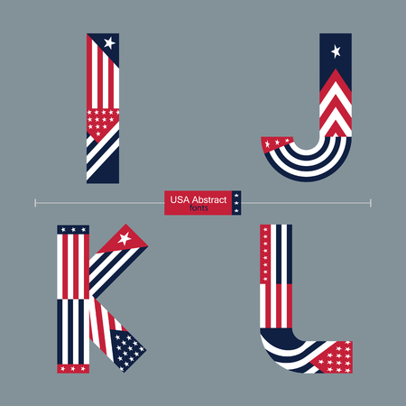 Vector graphic alphabet in a set I,J,K,L with USA flag abstract style Ilustrace
