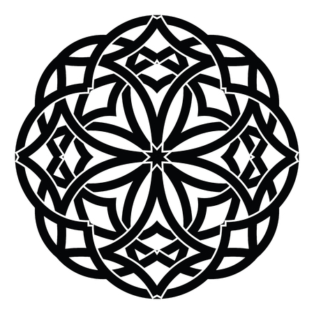 Round Celtic Ornament Intertwined vector illustration. decorative Celtic knots and curls.