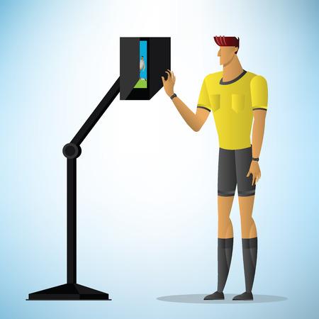 El árbitro de fútbol muestra la acción de los árbitros asistentes en video. Ilustración vectorial Ilustración de vector