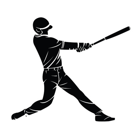 Vector illustration of a baseball player silhouette hitting the ball. Summer sports, team game. 矢量图像
