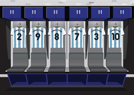 Equipo de vestuarios de fútbol. Ilustración de vector de camiseta azul de deporte de fútbol