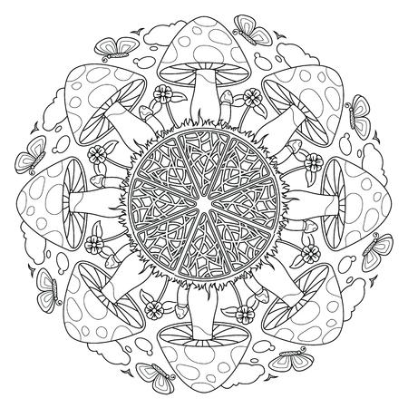 Mushroom Mandala. Vintage decorative elements. Oriental pattern, vector illustration. Vetores