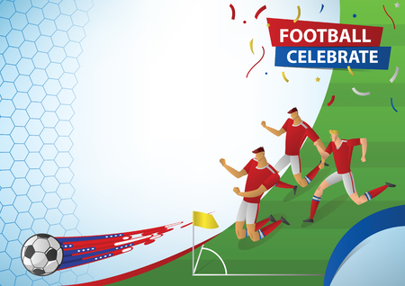 Football players in action celebration. soccer vector illustration. 向量圖像
