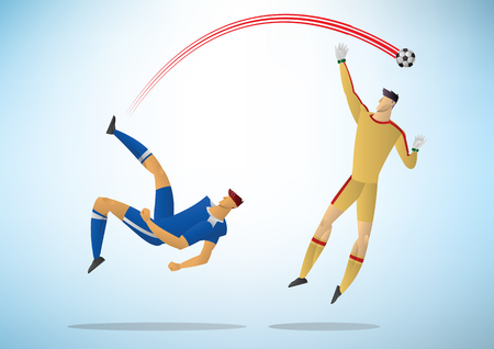 Football players in action. soccer vector illustration.