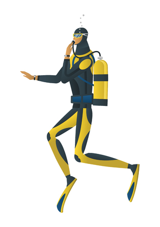 Vector cartoon style illustration of scuba diver on white background