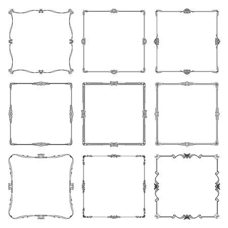Decorative frames and borders standard rectangle. art vintage design elements set vector illustration. Vectores