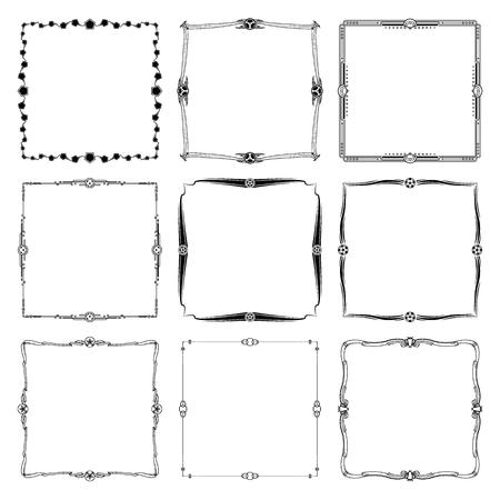 Decorative frames and borders standard rectangle. art vintage design elements set vector illustration.