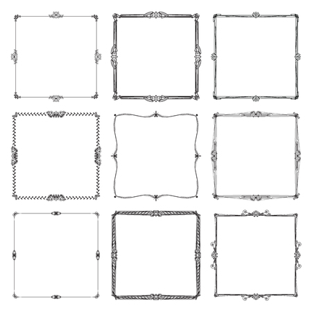 Decorative frames and borders standard rectangle. art vintage design elements set vector illustration. Vettoriali