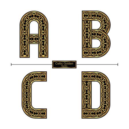 Alfabeto gráfico vectorial en un conjunto A, BC, D, con estilo celta de color dorado Ilustración de vector