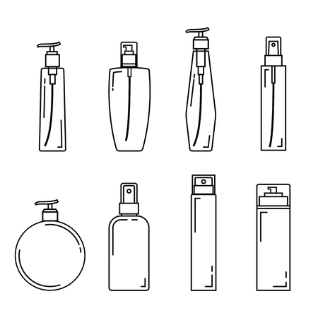 Cosmetics package icon set with white background. Thin Line Style stock vector. Illustration