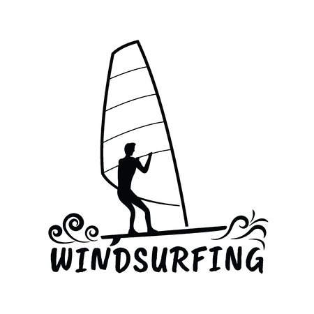 Windsurfing logo template. Extreme and water beach sports, silhouette design element vector illustration.