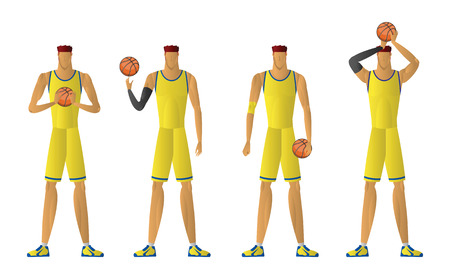 Basketball player in action. sport man yellow uniform isolated on white background. vector illustration.