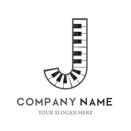 J Letter Logo Design Piano keyboard logo. Music icon design template. vector illustration. Logó