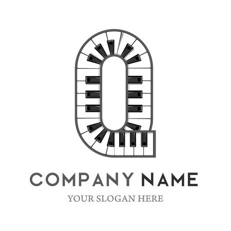 Q Letter Logo Design Piano keyboard logo. Music icon design template. vector illustration.