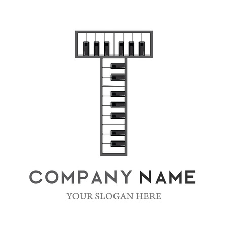 t letter logo design piano keyboard logo music icon design template