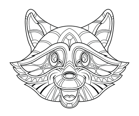 Hand-drawn raccoon head coloring page, vector illustration, isolated on a white background.