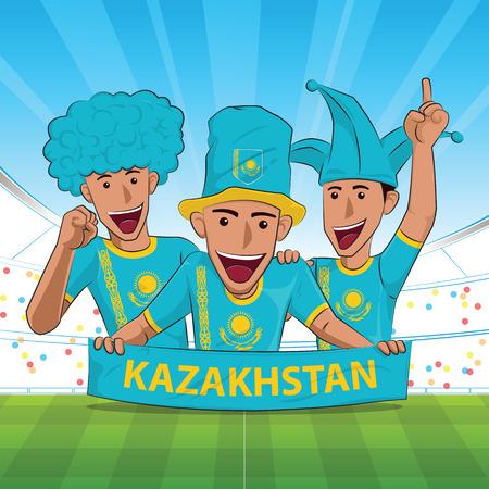 Kazakhstan Flag. Cheer football support Vector illustration.